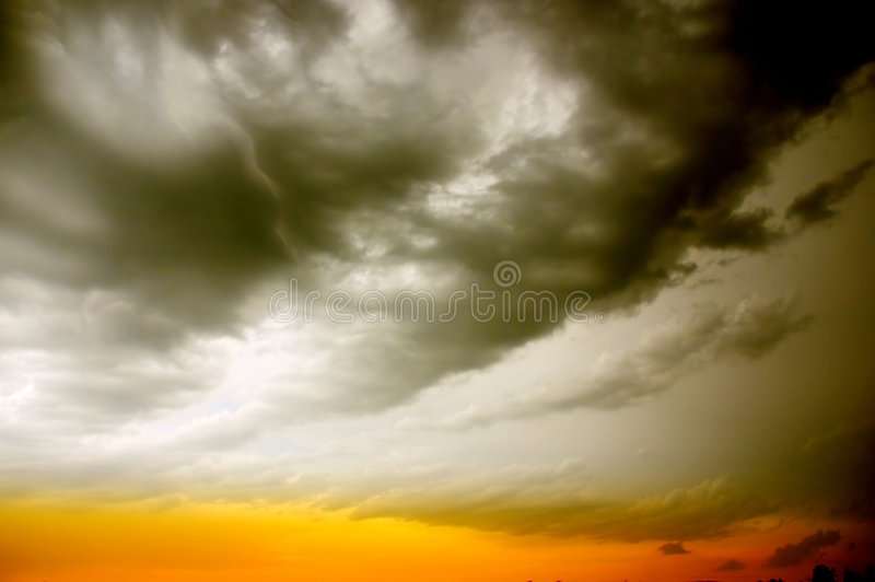 Stormy sky. And clouds and sundown