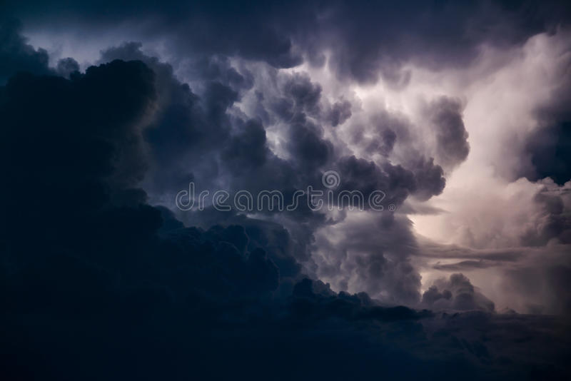 Stormy sky. Over the Black Sea on a summer evening stock images