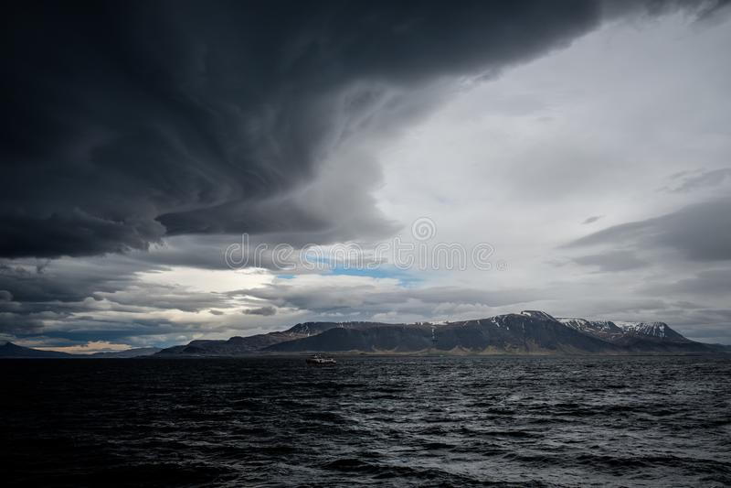 Stormy sky over an ocean royalty free stock photos