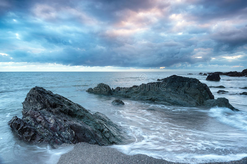 Stormy Sky over Portwrinkle. Stormy skies over the beach at Portwrinkle on the Cornwall coast royalty free stock images