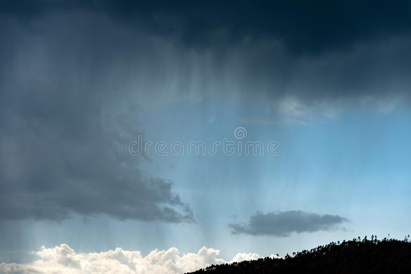 Stormy sky and rain over the pine forest - Italian Alps royalty free stock photos