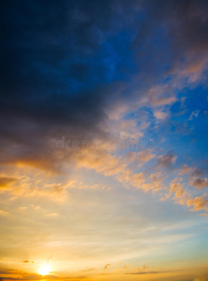 Stormy sunset with dramatic clouds on the horizon royalty free stock photos