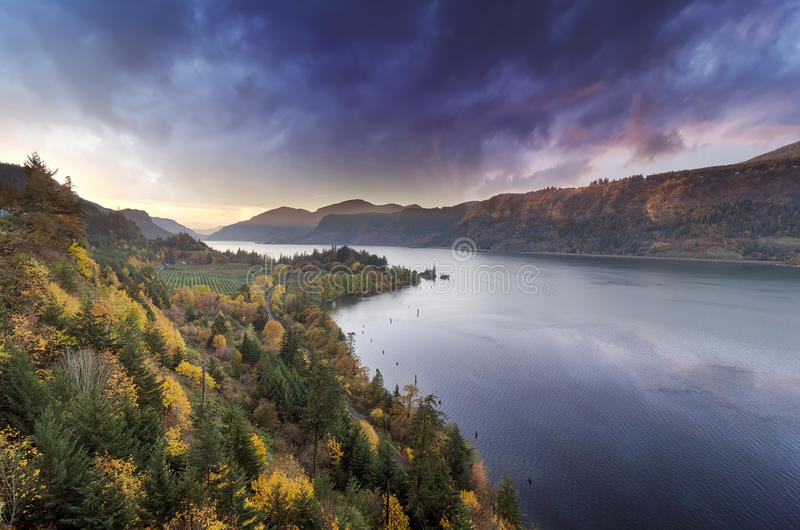 Stormy Sunset over Columbia River Gorge royalty free stock image