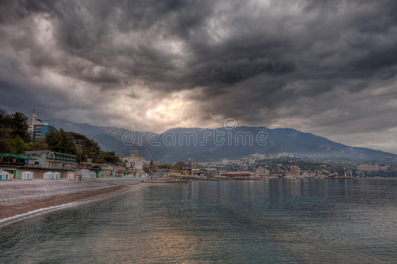 Download Stormy weather clouds stock photo. Image of seafront - 14849660