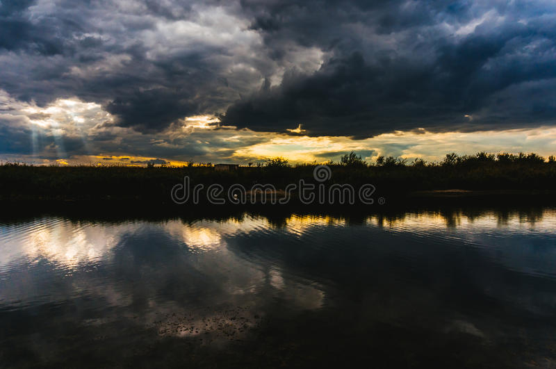 Stormy weather. Danube Delta in a cloudy and stormy weather stock images