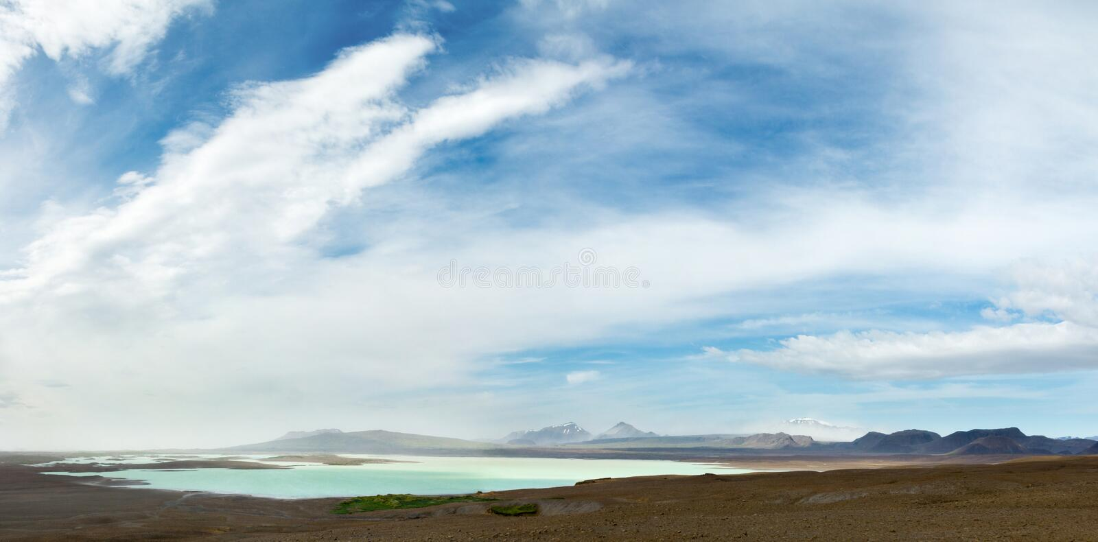 Stormy weather in icelandic highland at lake Sandvatn. Standstorm envelopes mountains in background. royalty free stock photo