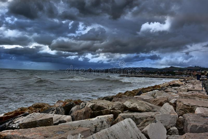 Port in San Benedetto del Tronto, Ascoli Piceno, Marche, before the thunderstorm royalty free stock image