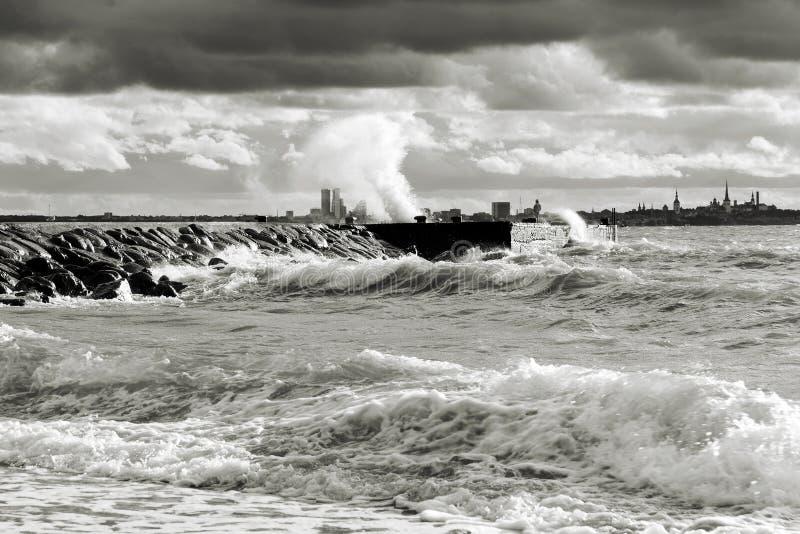 Stormy weather near sea stock image