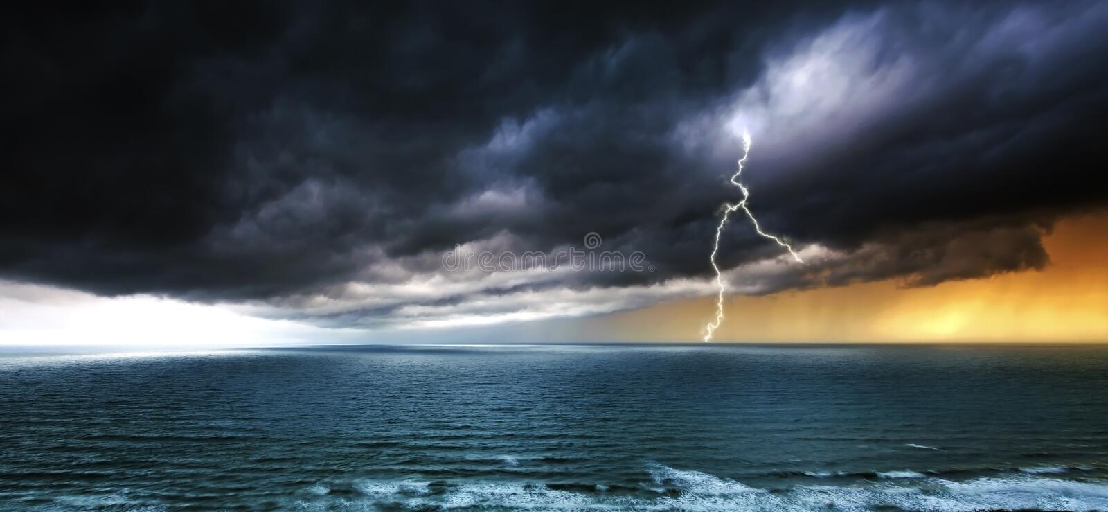 Download Stormy Weather Over Sea - Thunderstorm Panoramic Stock Image - Image: 32717053