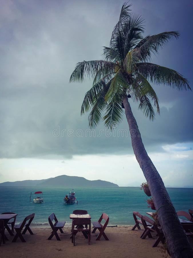 Stormy weather at sea resort royalty free stock photography