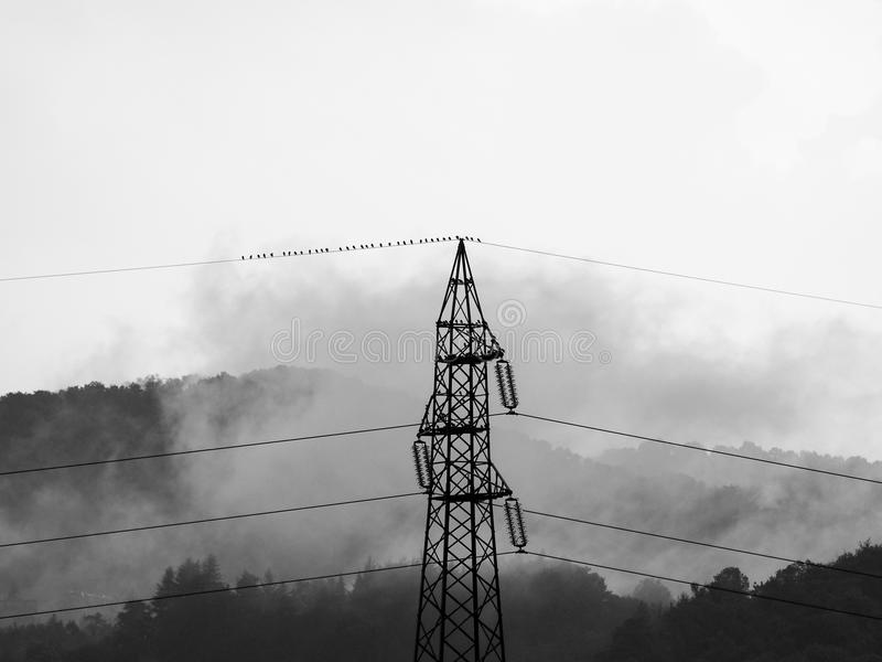Stormy weather. Sublime awe inspiring nature with transmission line in stormy weather in black and white royalty free stock image