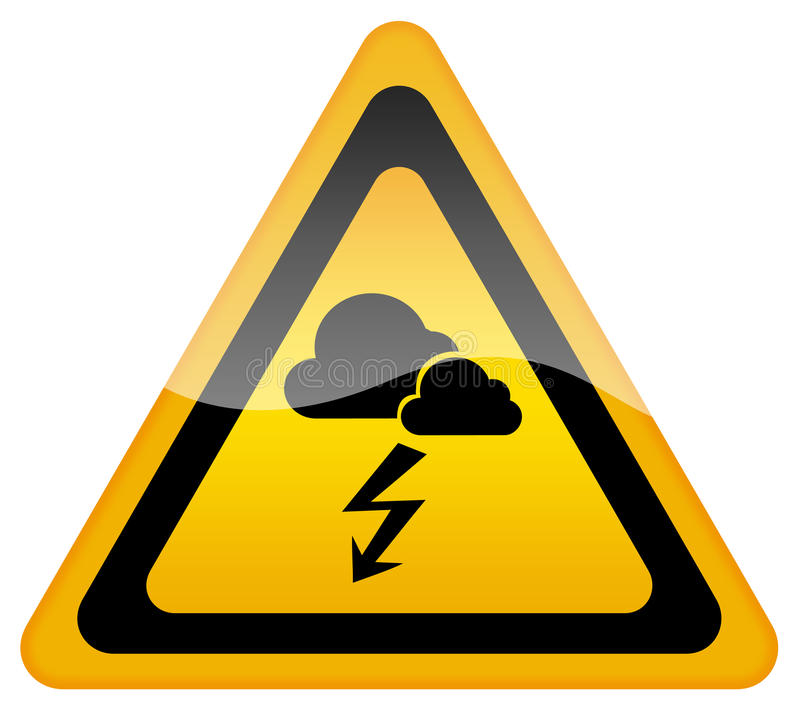 Stormy weather warning sign stock illustration