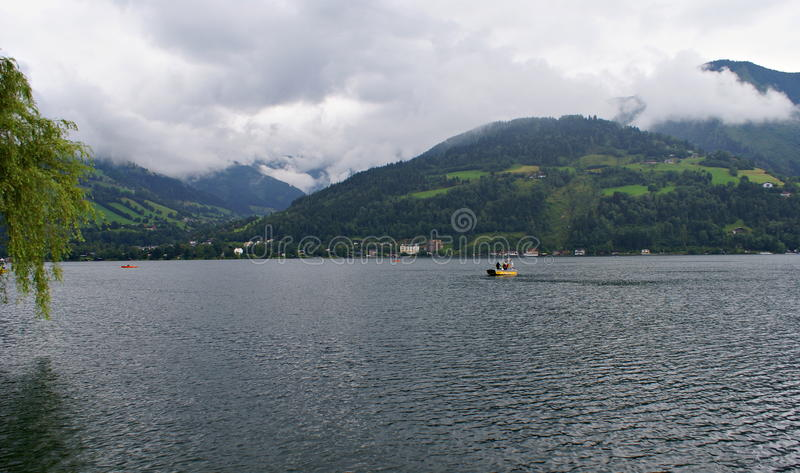 Stormy weather on Zeller Lake,Austria royalty free stock images