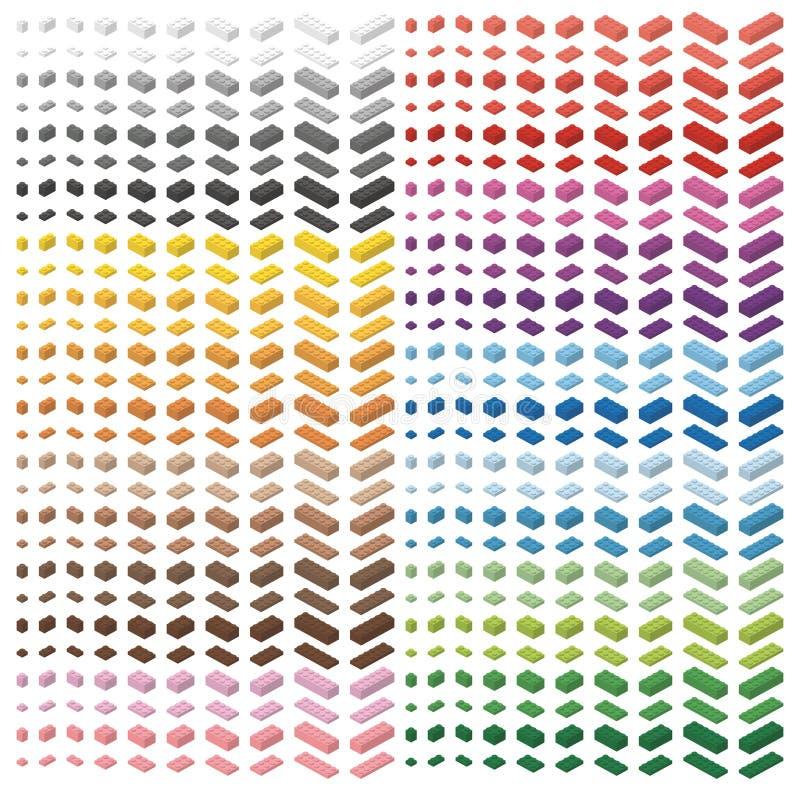 Storpack för färgspektrum av barntegelstenar Tegelstenleksak, färgrika tegelstenar som isoleras på vit bakgrund Alla tegelstenfor royaltyfri illustrationer