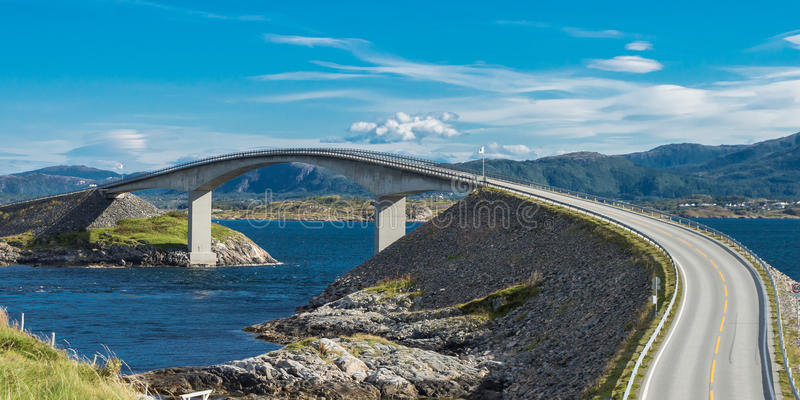 The Storseisundet Bridge on the Atlantic Ocean Road in Norway. The Storseisundet Bridge (Norwegian: Storseisundetbrua) is the longest of the eight bridges that royalty free stock photography