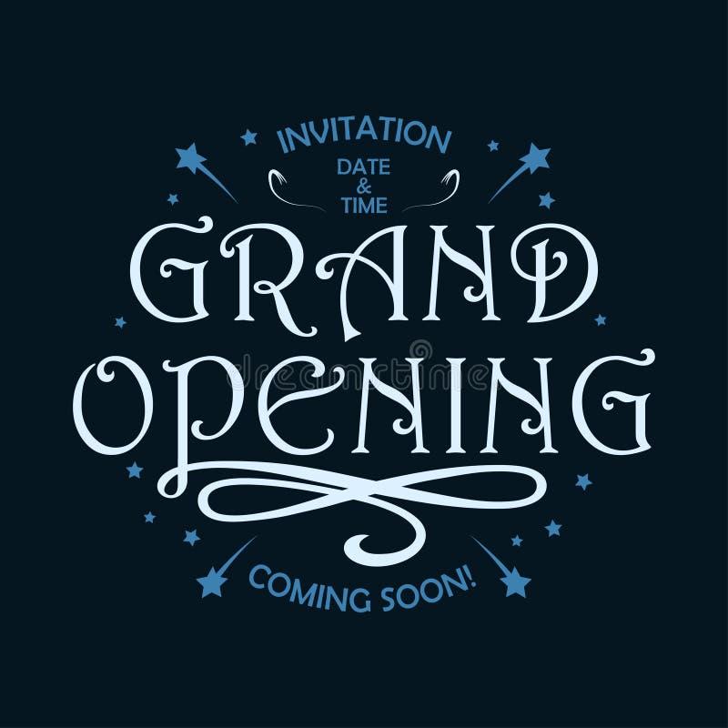 Storslagen öppning - mall för kortet, baner, affisch med retro bokstäver Begrepp av öppningscermoni i tappningstil vektor royaltyfri illustrationer