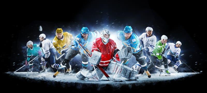 Storslagen ishockeycollage med yrkesm?ssiga spelare p? den svarta bakgrunden arkivbild