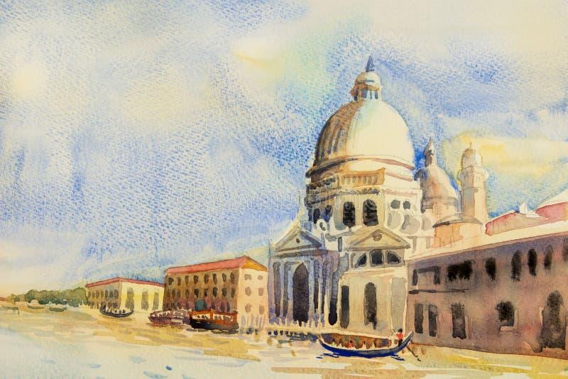 Storslagen kanal i venice, Italien royaltyfri illustrationer