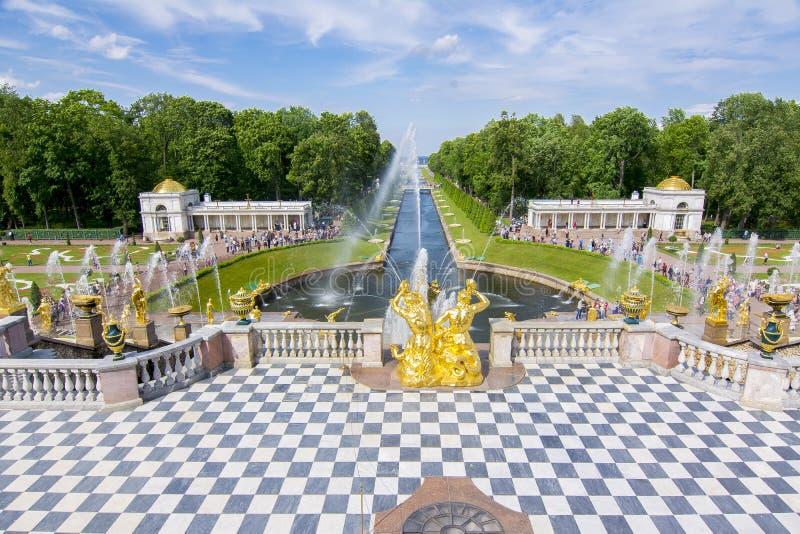 Storslagen kaskad- och springbrunngränd i Peterhof, St Petersburg, Ryssland arkivfoton