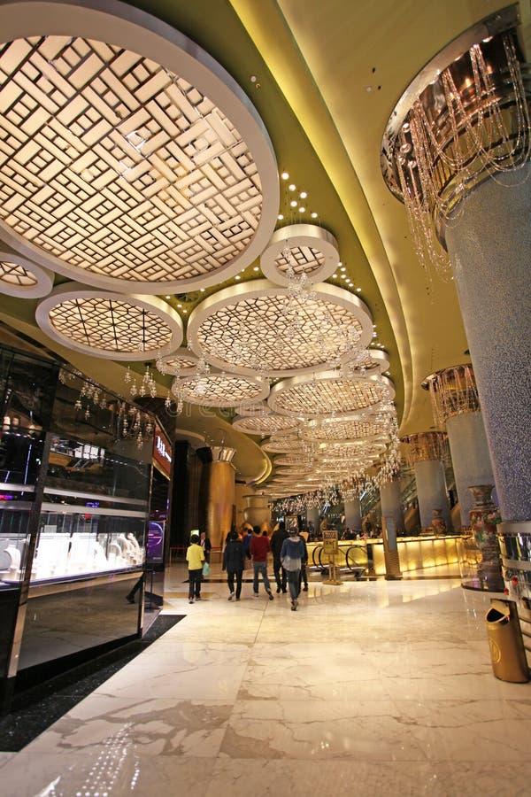 Storslagen Lissabon kasino- och hotellinre, Macao royaltyfria bilder