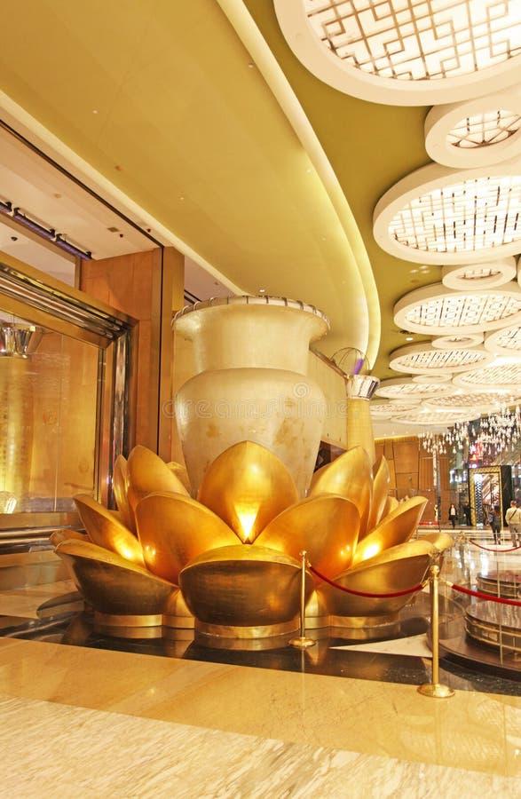 Storslagen Lissabon kasino- och hotellinre, Macao royaltyfri fotografi
