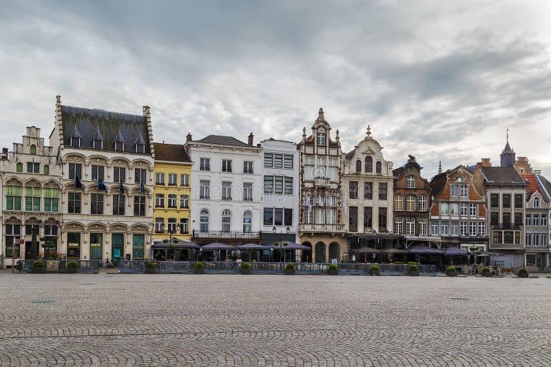 Storslagen marknadsfyrkant (Grote Markt), Mechelen, Belgien royaltyfria bilder