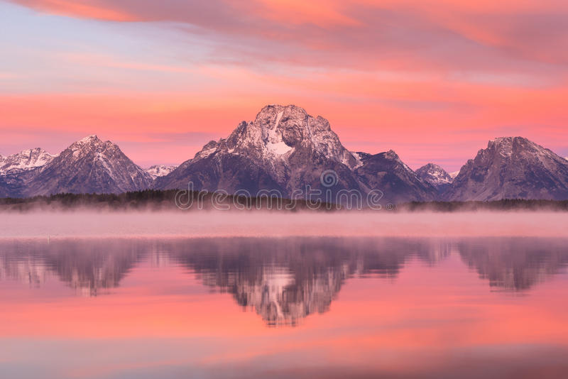 storslagen nationell panorama- parkteton USA visar wyoming royaltyfria bilder