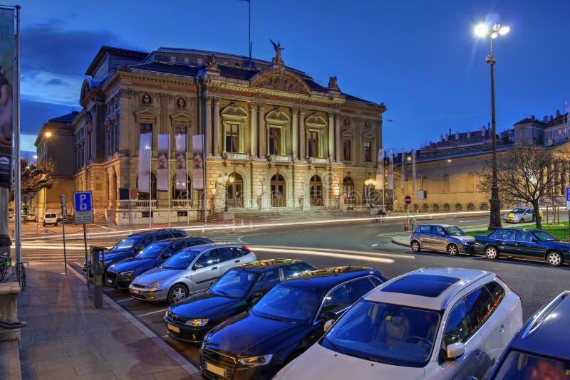 Storslagen teater de Geneve, Schweiz royaltyfria bilder