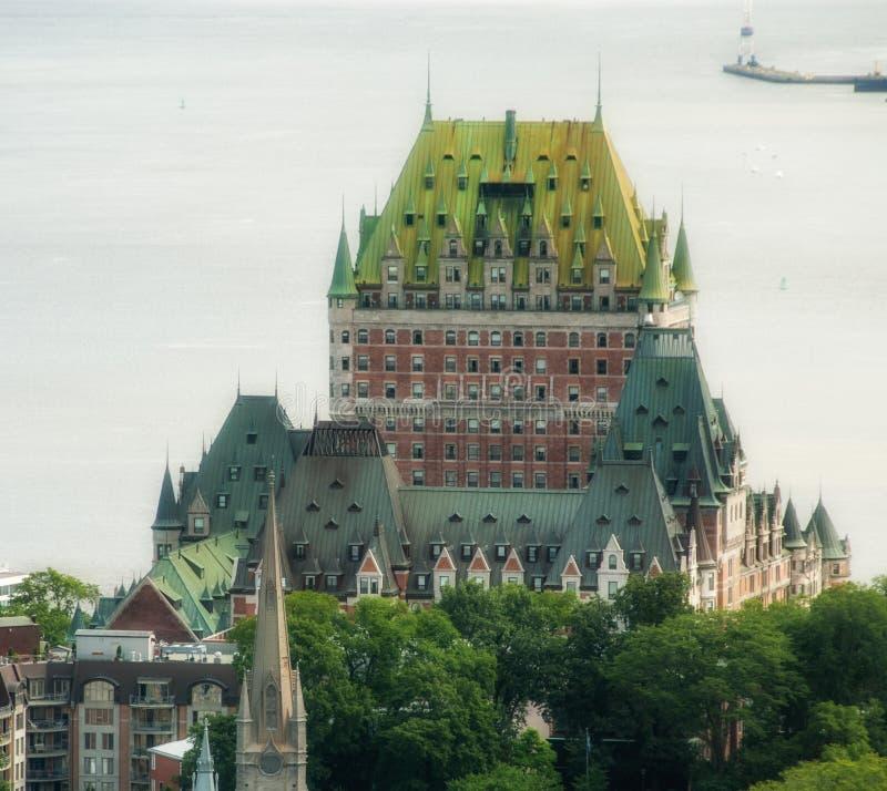 Storslagenhet av Hotell Chateau de Frontenac, Quebec slott royaltyfria bilder