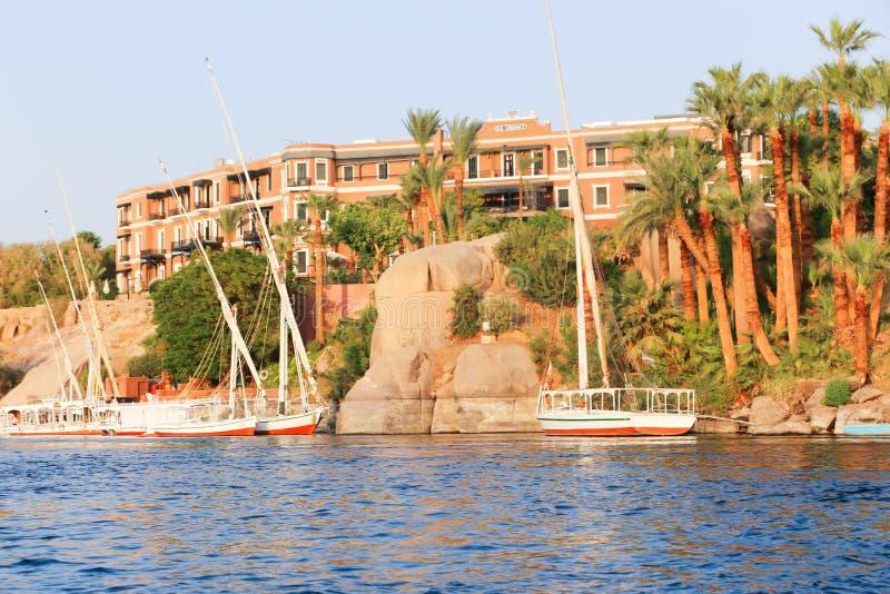 Storslaget hotell Aswan - Egypten royaltyfri foto