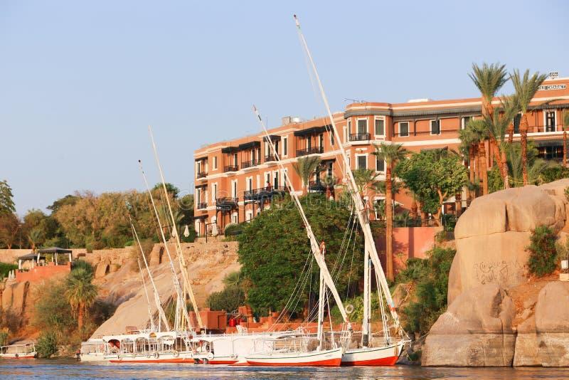 Storslaget hotell Aswan - Egypten arkivfoton