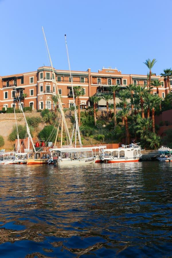 Storslaget hotell Aswan - Egypten royaltyfri fotografi