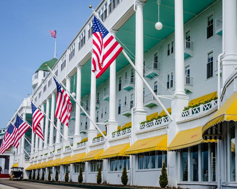 Storslaget hotell på den Mackinac ön i nordliga Michigan royaltyfria bilder