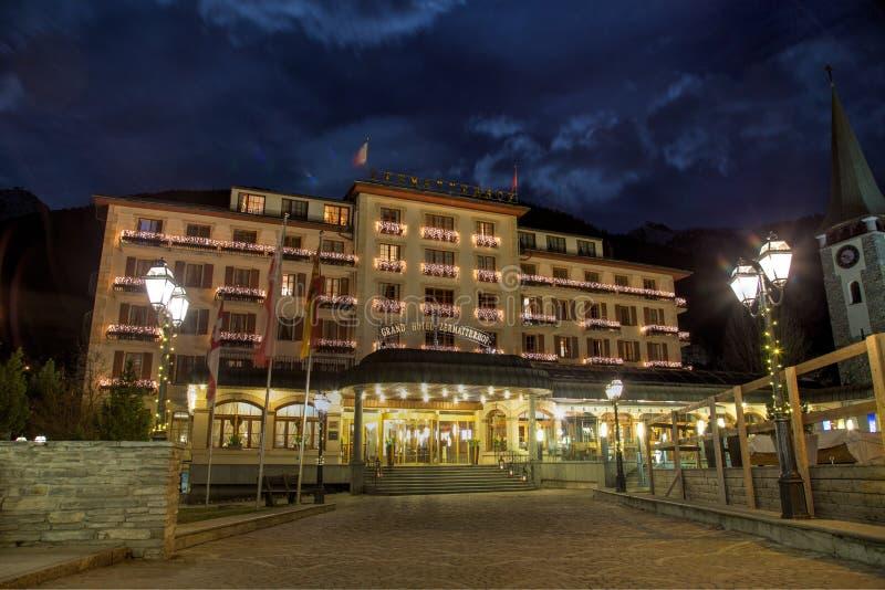 Storslaget hotell Zermatterhof arkivfoto