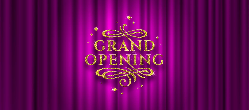 Storslaget logo för öppna Blänka den guld- logoen med dekorativa beståndsdelar för krusidullar på en purpurfärgad gardinbakgrund royaltyfri illustrationer