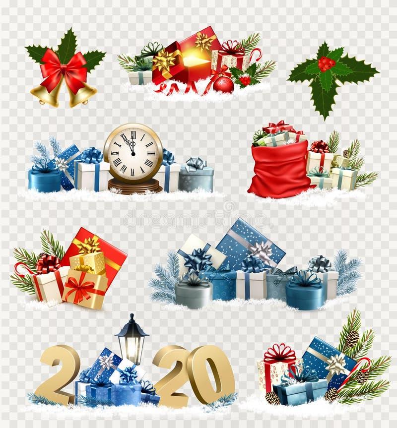 Storslagna julsymboler och nyårsholidarikoner och -objekt royaltyfri illustrationer