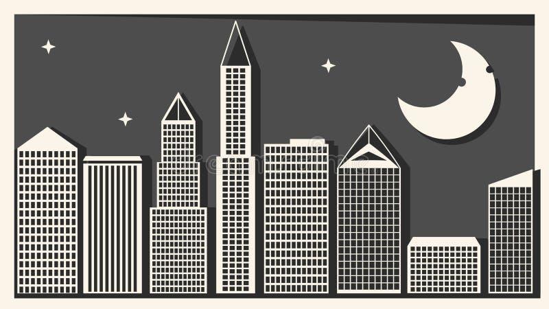 Storstad med skyskrapavektorillustrationen f?r din design royaltyfri illustrationer