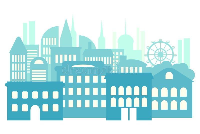 Storstad metropolis, h?ghus abstrakt bakgrundsblue royaltyfri illustrationer