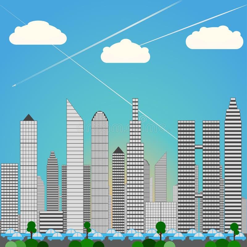Storstadhorisont, tung rusningstidtrafik, dagsljus, blått färgar vektor illustrationer