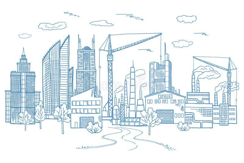 Storstadlandskap med olika byggnader Drog illustrationer för vektor hand vektor illustrationer