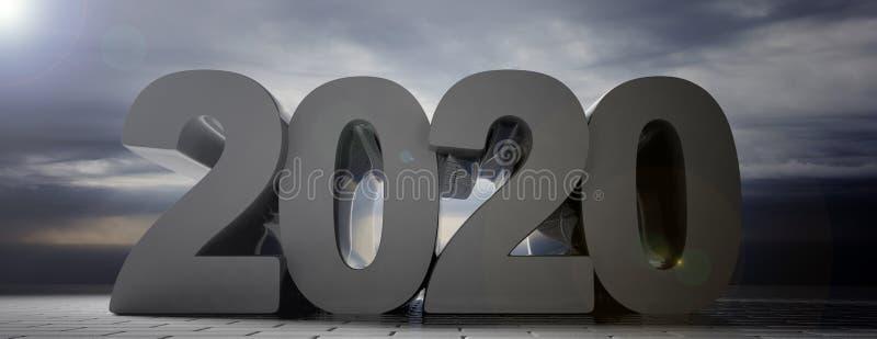 2020 stort antal, molnig mörk himmelbakgrund, trottoar för konkreta tegelplattor, baner illustration 3d vektor illustrationer