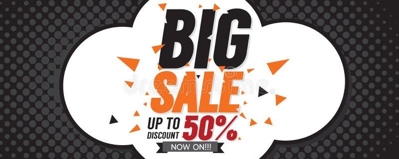 Stort baner för PIXEL för Sale 50 procent 6250x2500 vektor illustrationer