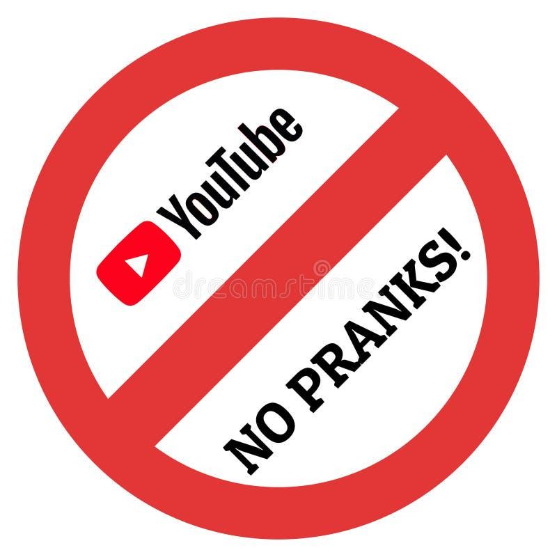 Stort begränsningstecken med den Youtube logoen och ingen ofoginskrift stock illustrationer
