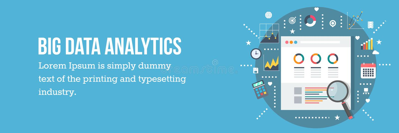 Stort begrepp för dataanalys - vektorillustration - rengöringsdukbaner stock illustrationer