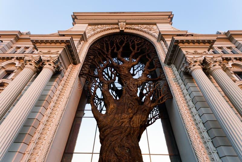 Stort bronsträd i slotten av bönder i Kazan Ryssland royaltyfria bilder