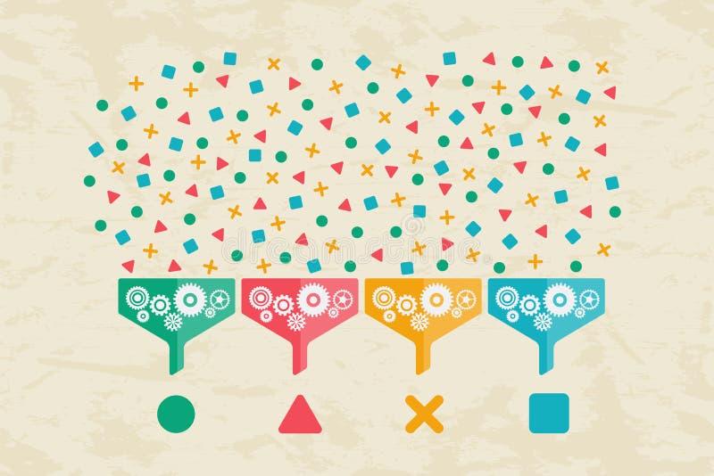 Stort data, datavetenskap och kommunikationsbegrepp vektor illustrationer