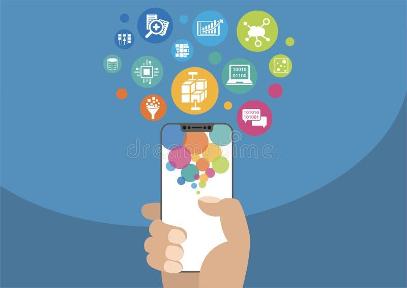 Stort data och mobilanalyticsbegrepp som illustration med handen som rymmer den moderna skyddsram-fria/frameless smartphonen och  royaltyfri illustrationer