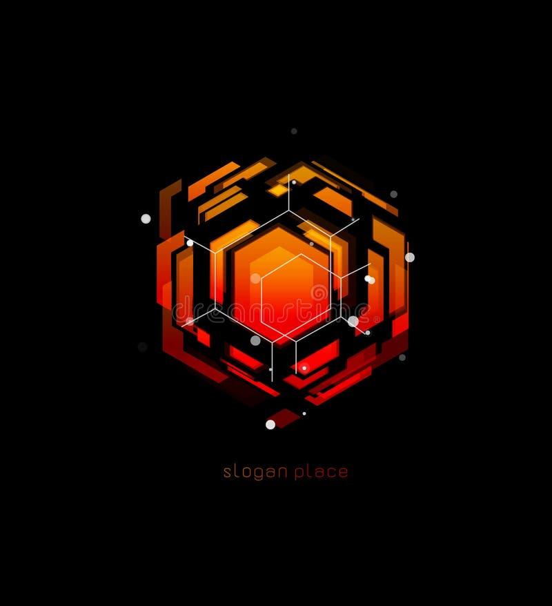 Stort dataabstrakt begrepp, röd mall för databasvektorlogo För designeffekt för innovativa teknologier digital logotyp på svart vektor illustrationer