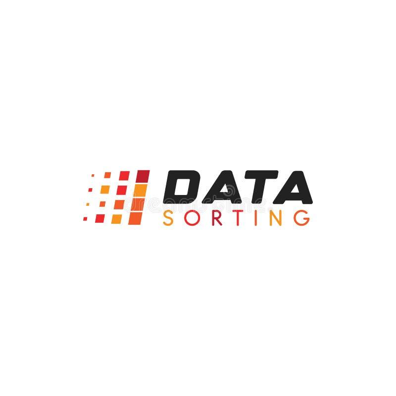 Stort databasvektoremblem Data som sorterar den geometriska symbolen Logo för informationssorteringabstrakt begrepp Enkel Digital royaltyfri illustrationer