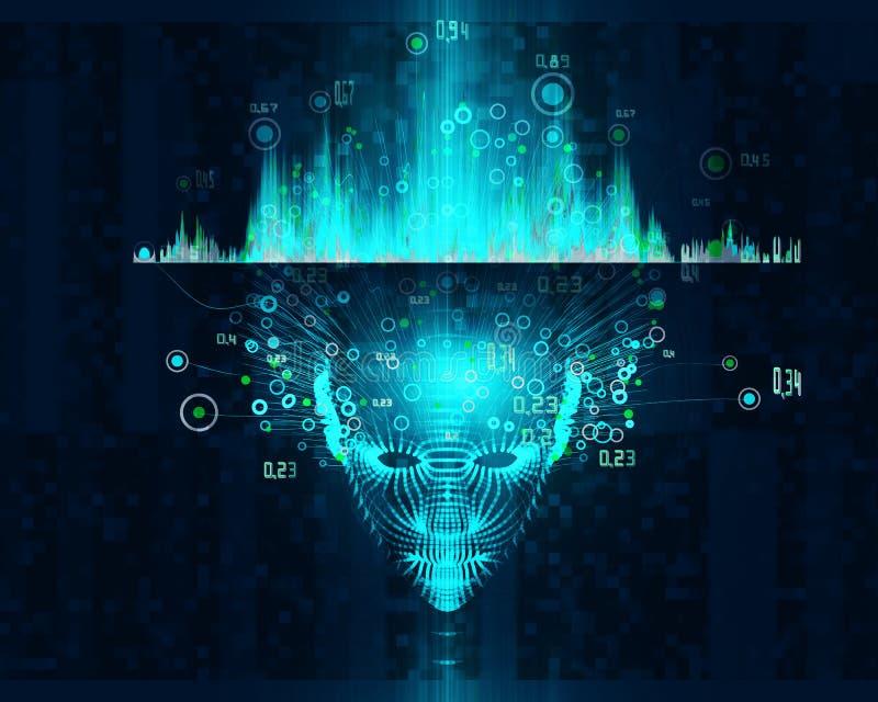 Stort databegrepp Abstrakt bakgrund f?r konstgjord intelligens Design f?r l?ra f?r maskin estetisk Främre sikt för Polygonal huvu arkivbild